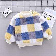 Sweatshirt Pullover-Sweater Baby Kids Winter Plaid Outwear Tops Velvet Long-Sleeve Warm