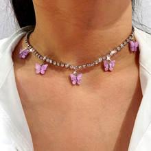 Женское акриловое ожерелье flatfoosie модное с подвеской бабочкой