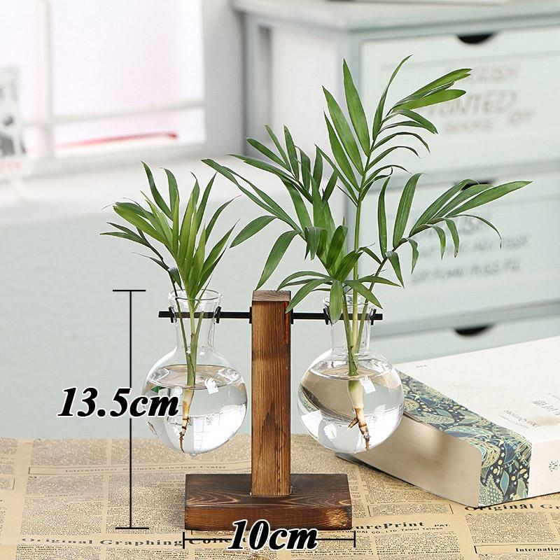 Террариум креативный гидропонный завод прозрачная ваза деревянная рамка ваза декоративная стеклянная настольная растение бонсай Декор ваза для цветов - Цвет: Type B
