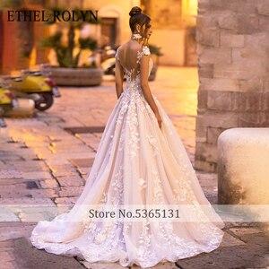 Image 2 - Étel rolyn vestido de noiva a linha, ombro fora, romântico, renda, apliques, praia, boho, de noiva 2020