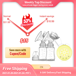 Double Electric Breast Pump USB Electric Breast Pump With Baby Milk Bottle Cold Heat Pad BPA free Powerful Breast Pumps
