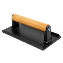Тарелка барбекю с деревянной ручкой пресс-гриль для мяса чугунный стейк пресс для веса профессиональный