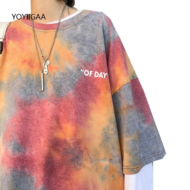 Camiseta Tie Dye para mujer, camisetas de manga corta para mujer, camisetas informales, camisetas holgadas con cuello redondo, camisetas Harajuku para mujer