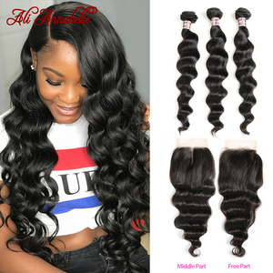 Brazilian Hair Weave Bundles With Closure Loose Wave Bundles With Closure Remy Human Hair 3 Bundles With Closure 4x4 HD Lace