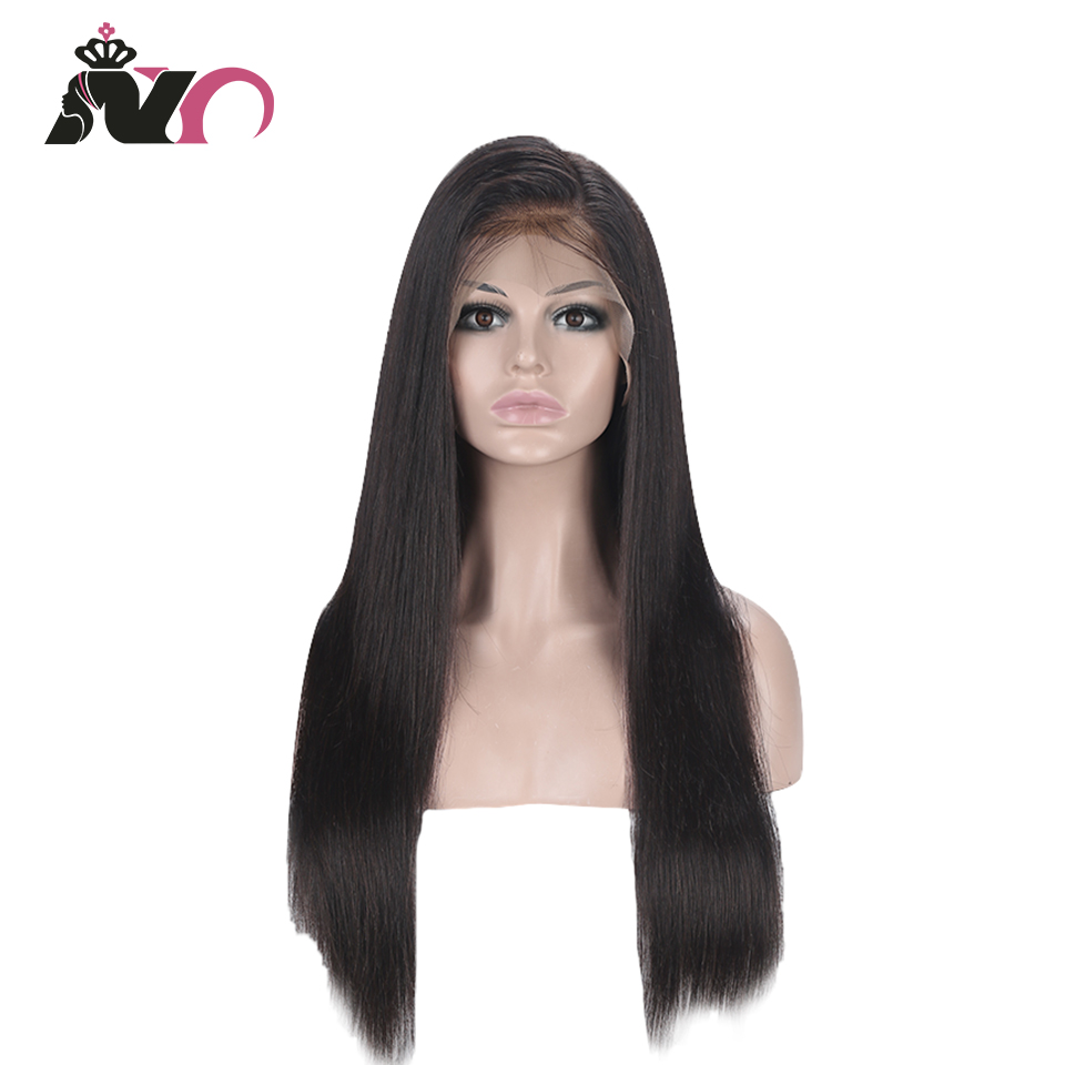 NY Hair 13*4 Lace Front 100% Human Hair Wigs Brazilian Straight Pre Plucked Baby Hair 8- 28 Inch Non Remy Hair Lace Frontal Wigs