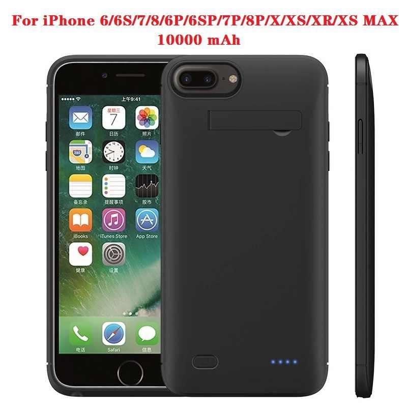 Hot 10000 MAh Power Bank Ốp Lưng Dành Cho iPhone 6 6 S 7 Plus Ốp Lưng Ốp Lưng Pin Sạc Dự Phòng Cho iPhone X XS XR 11 Pro Power Bank Sạc