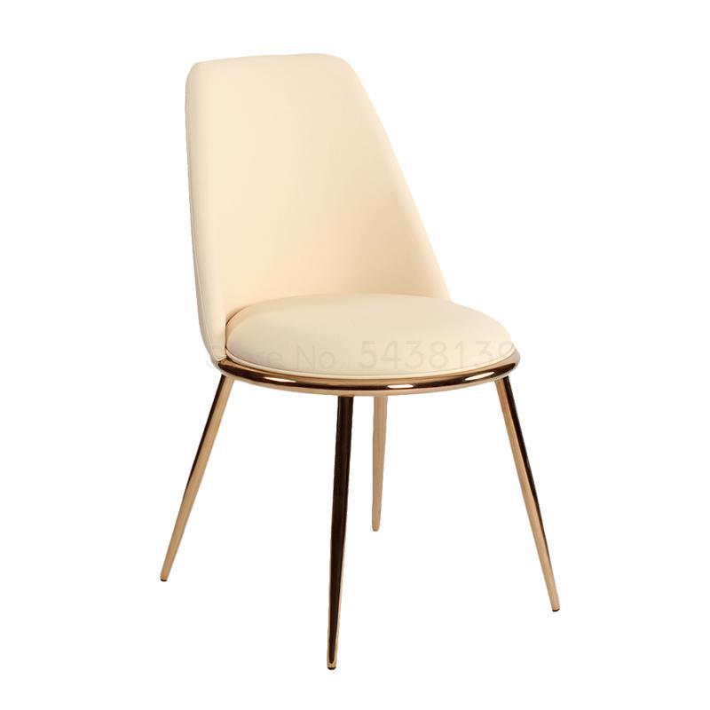 Nordic dressing nail salon stool backrest leather chair simple makeup chair net red ins light luxury dining table chair