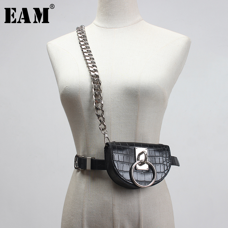 [EAM]  Pu Leather Black Mini-bag Split Joint Chain Long Wide Belt Personality Women New Fashion Tide All-match Spring 2020 1S917