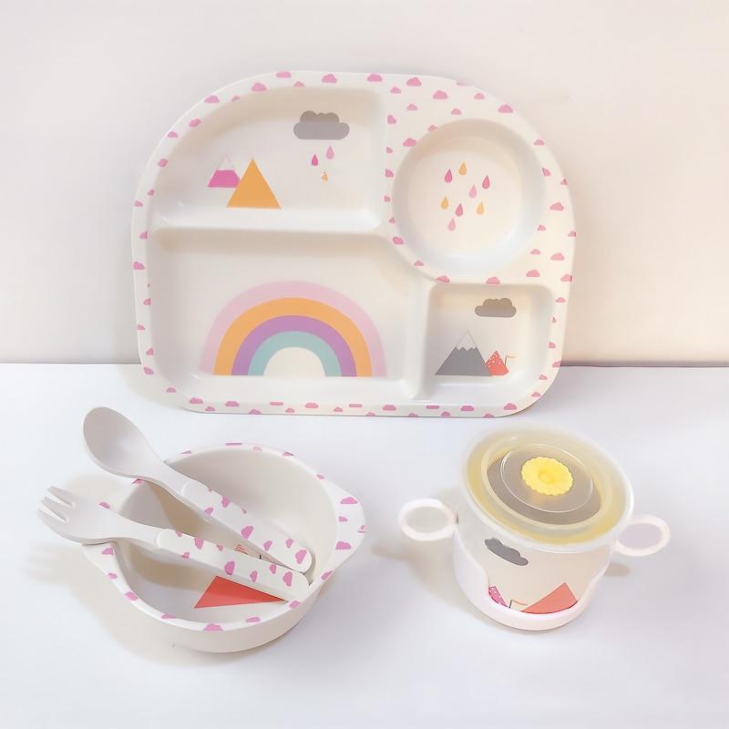 Мультяшная тарелка из бамбукового волокна для кормления ребенка, детская посуда, поднос, тарелка, чаша, вилка, ложка, чашка, столовая посуда, ...
