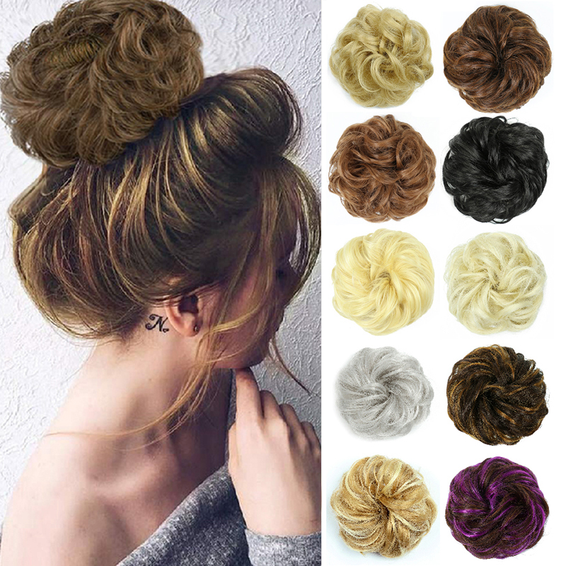 Black Brown Messy Hair Bun Synthetic Hair Bun Hairpiece Extensions Ring Wrap Chignon High Temperature FiberHair Piece For Women