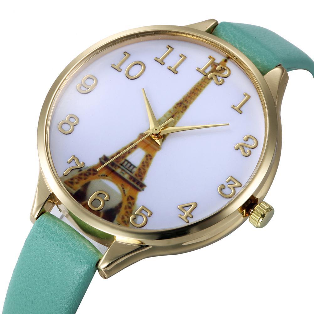 Eiffel Tower Dial Quartz Watch Women Casual Faux Leather Band Analog Quartz Wrist Watch Lady Party Gift Clock Relogio Feminino