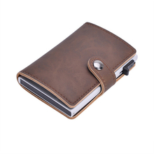 Bycobecy RFID Blocking Card Holder PU Leather Wallet Aluminum Single Box 2019 Fashion Bank for Men and Women