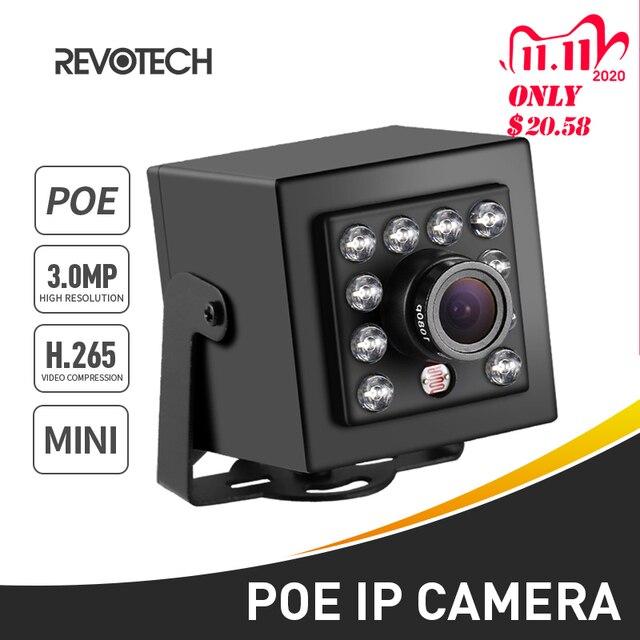 Cámara de seguridad IP para interiores, dispositivo pequeño de grabación de vídeo HD 1296P/1080P de 3 MP, H.265 y POE con visión nocturna IR y 10 LED, sistema de videovigilancia P2P CCTV