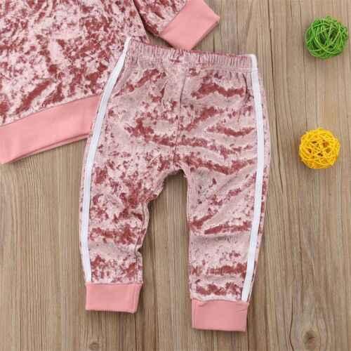 2019 Autunno Inverno Velluto Bambini Del Bambino Delle Ragazze Copre Gli Insiemi Solido Manica Lunga T-Shirt Magliette e camicette + Pants 2PCS Outfit Set 1-5T Dropshipping