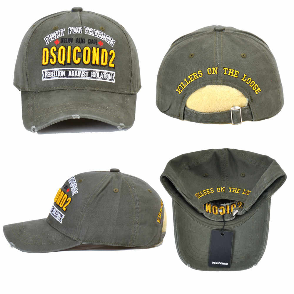 2020 symbol DSQICOND2 Kappe Baumwolle Baseball Caps DSQ2 Buchstaben Marke Hohe Qualität Kappe Männer Frauen Kunden Design Hut armee grün kappe