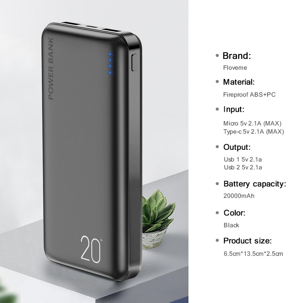 FLOVEME Power Bank 20000mAh Portable Charging Poverbank Mobile Phone External Battery Charger Powerbank 20000 mAh for Xiaomi Mi 6