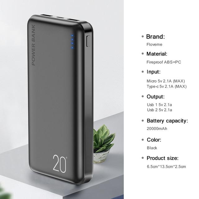 Batería Externa FLOVEME de 20000 mAh, batería externa para teléfono móvil, batería externa de 20000 mAh para Xiaomi Mi