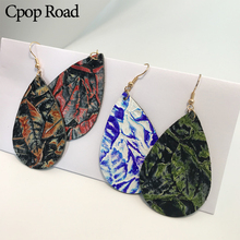 Cpop Vintage Printing Water Drop Genuine Leather Earrings Women Fashion Personality Statement Teardrop Jewelry