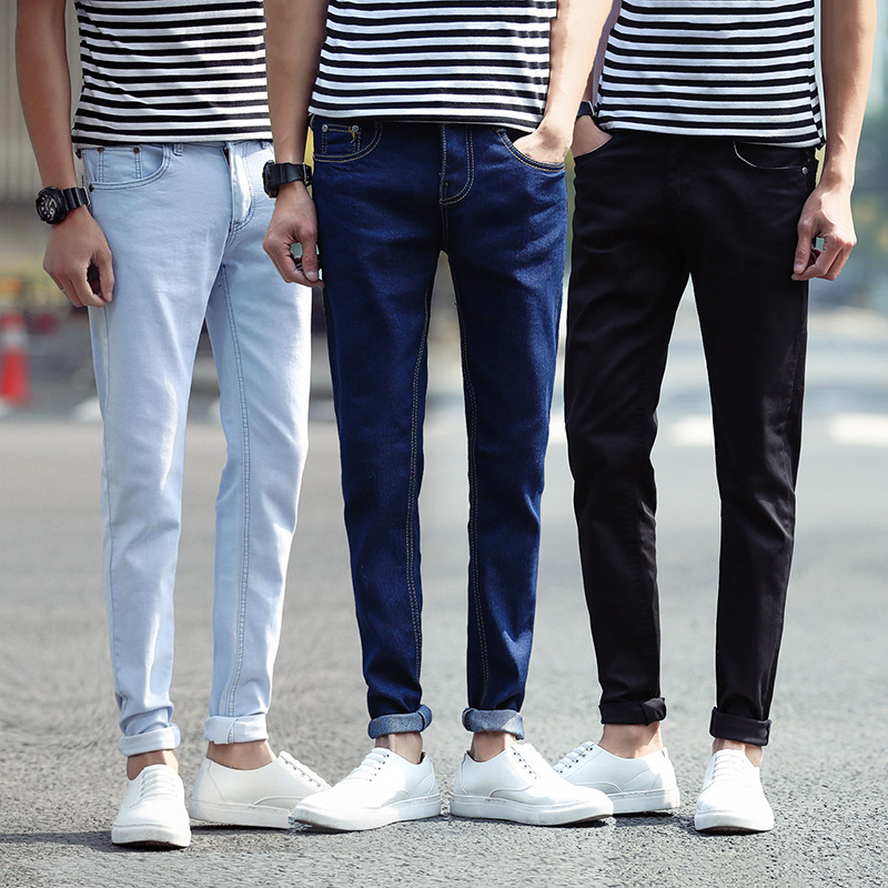Large Size Long Pants Spring And Summer New Style Slim Fit MEN'S Jeans Men's Elasticity Skinny Pants Teenager Men's Trousers