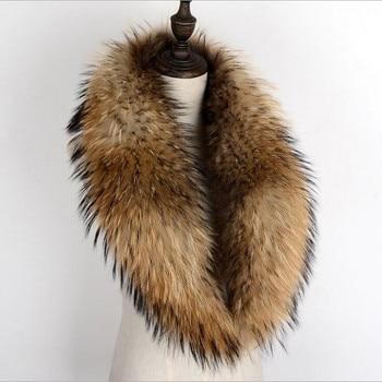 100% Genuine Raccoon Fur Collar Scarf For Coat Detachable Natural Raccoon Fur Scarf For Women Real Fur Collar Neck Warmer 2