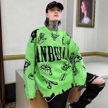 Maglioni con motivo verde maglione strappato distrutto lavato maglioni lavorati a maglia da uomo maglioni oversize da donna Harajuku