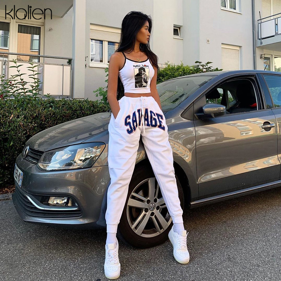 KLALIEN Women Casual Sport Pants Letter Simple Harem Pants 2020 Straight High Waist Slim Collocation White Loose Casual Pants