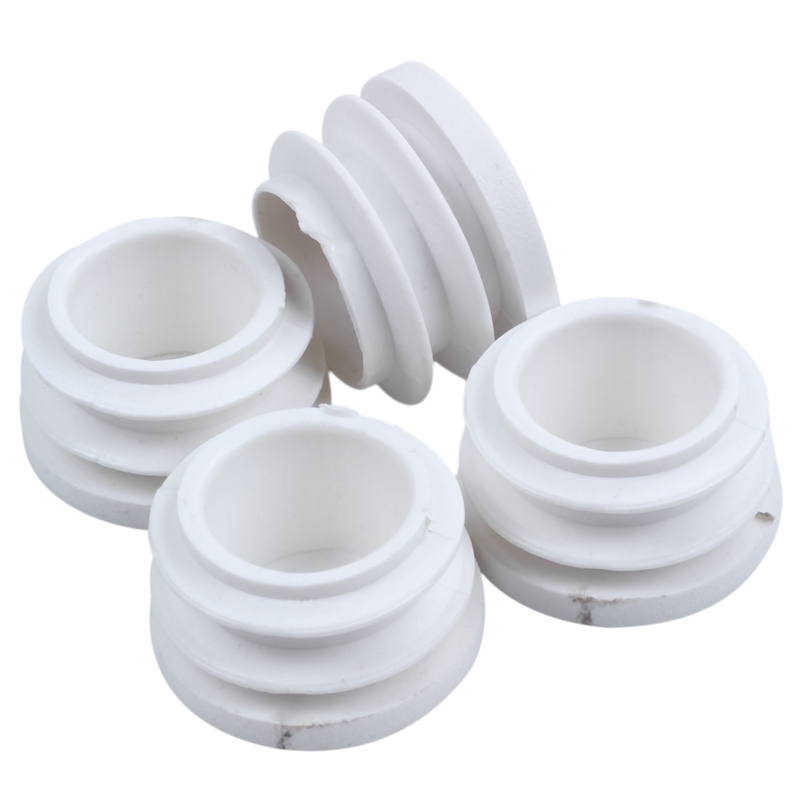 New-4 Pcs 19mm Dia Plastic Blanking End Cap Tubing Pipe Inserts Bung White