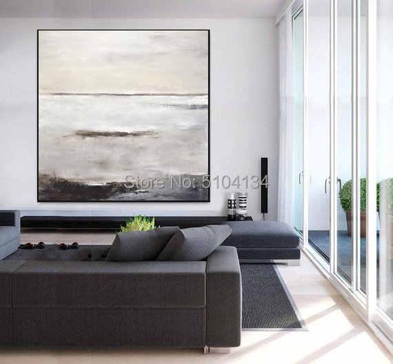 Hand-Painted Lukisan Abstrak Besar Lukisan Minyak Asli Seni Modern Putih Kelabu Tua Coklat Desain Kontemporer Kanvas Gratis Pengiriman