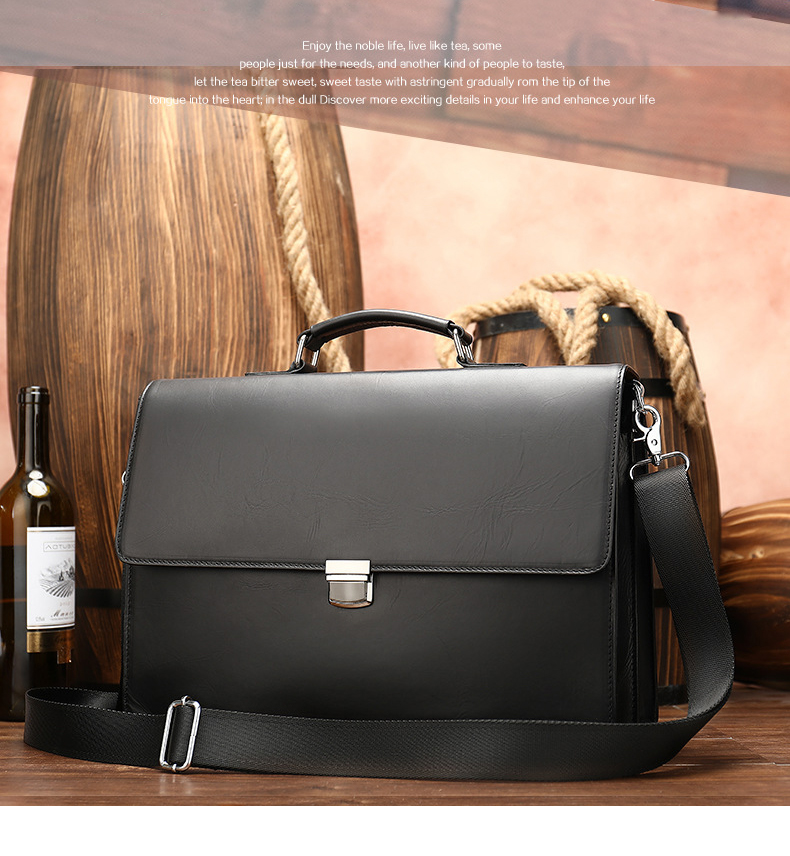 Luufan Classic Design Black Mens Briefcase Daily Working Totes Layer Doctor Office Man Business Bags 15