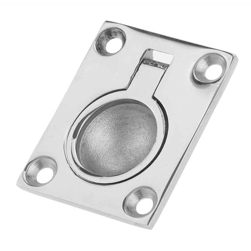 48 X 38Mm <font><b>Boat</b></font> Locker Hatch <font><b>Latch</b></font> Cabinet Flush Mount Ring Pull Handle Marine Surfing Hardware 316 Stainless Steel image