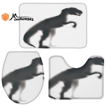 3 Pieces Bathroom Set Dinosaur Silhouette Durable Bath Set Toilet Cover Mat Pedestal Rug Non-Slip Bathroom Rug Set(China)