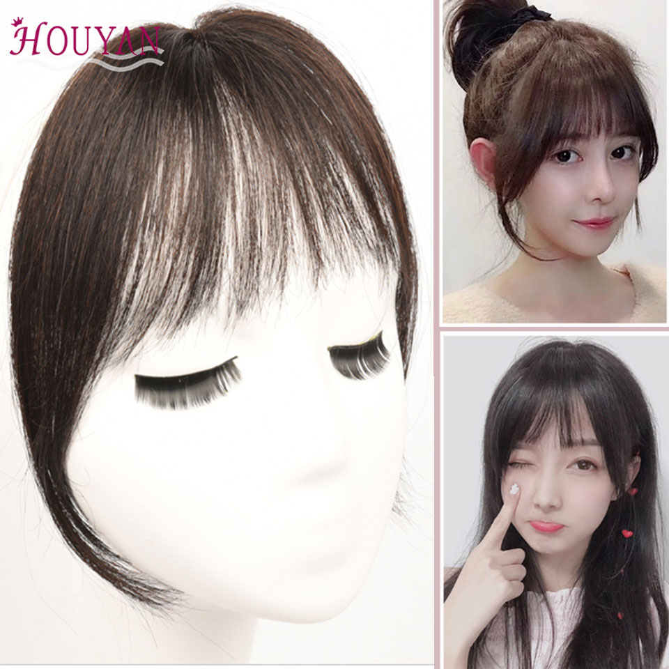 HOUYAN 100% Human Hair Long Clip In On Bang Hair Women Extensions Traceless Natural Air Bangs Piece Available In Three Colors