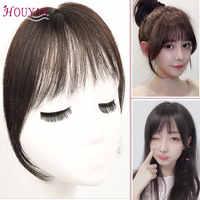 HOUYAN 100% Menschliches Haar Lange Clip In auf Bang Haar Frauen Extensions Spurlose Natürliche Luft Pony Stück Erhältlich In Drei farben