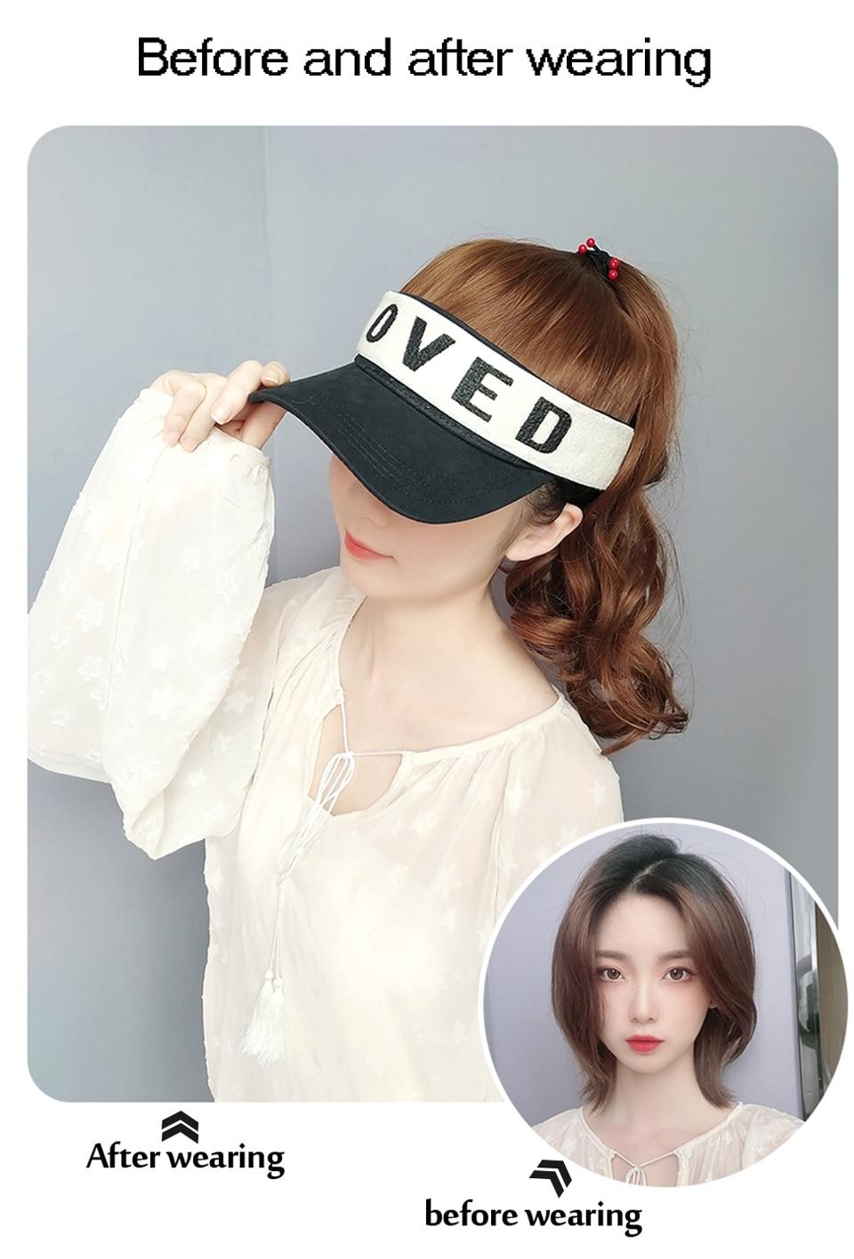 Meifan natural falso cabelo peruca de extensão