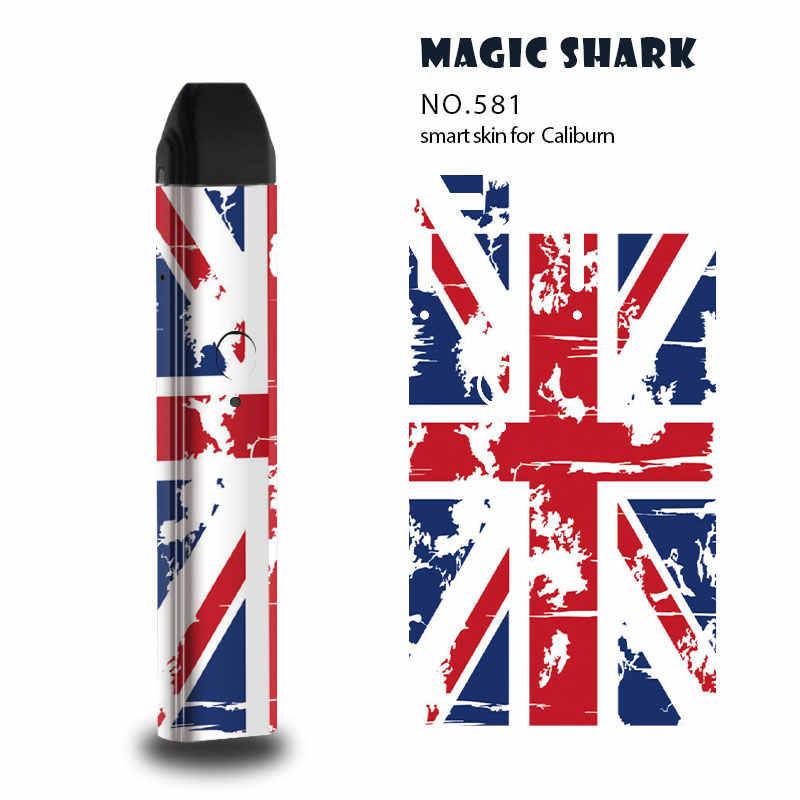 매직 상어 로봇 미국 영국 국기에 드롭 2019 새로운 Arrivel 해골 케이스 스킨 커버 전체 필름 스티커 Uwell Caliburn 579-591