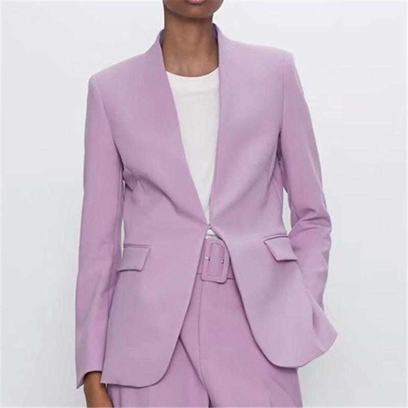Fashion Violet Women Blazer Suits Long Sleeve Hidden Breasted Blazer Pants Set Office Ladies Two-Piece Blazer Sets
