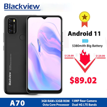 Blackview A70 Android 11 смартфон 6,517 дюймов Дисплей Octa Core, 3 Гб оперативной памяти, Оперативная память + 32 ГБ Встроенная память 5380 мА/ч, 13MP сзади Камера 4G ...