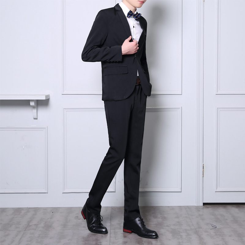 19 New Style College Convention MEN'S Suit Youth Popularity Slim Fit Jag In The Midde Of Back Flat Collar Casual Suit