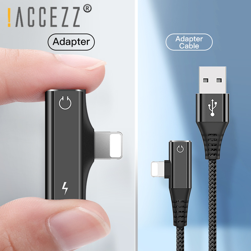 !ACCEZZ 2 In 1 Dual Lighting Headphone Adapter For Iphone X 8 7 Plus XS MAX XR Calling Listening Charging Converter Cable 1.2M