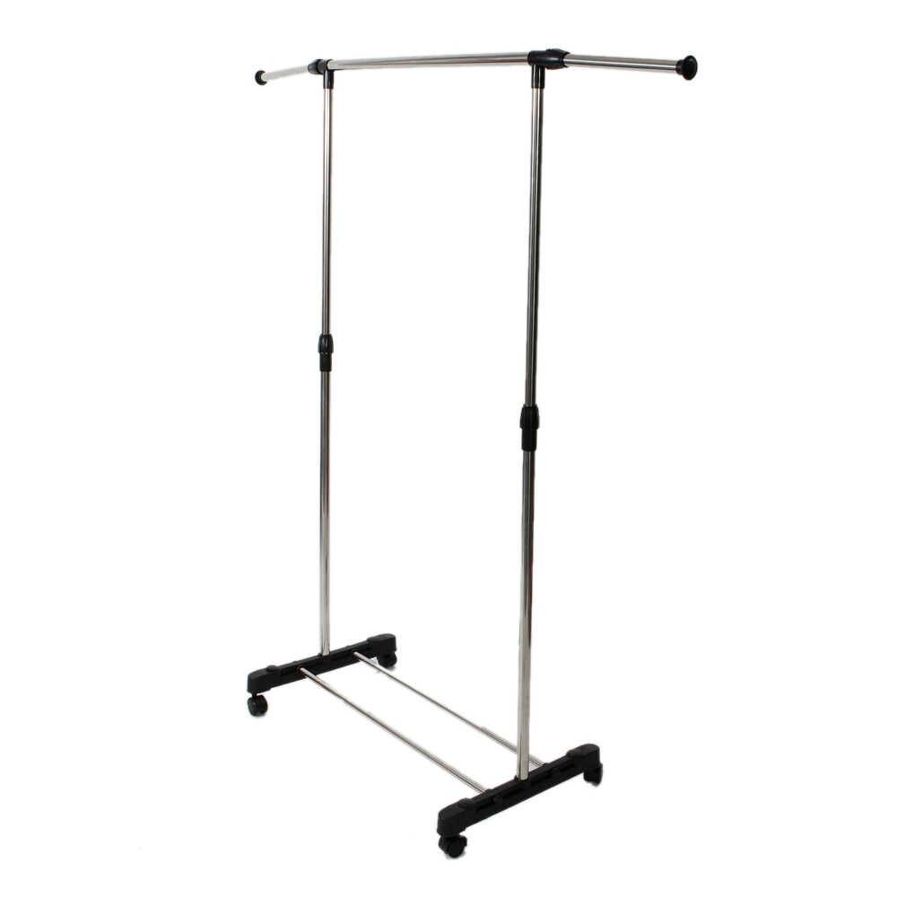 Einzel-bar Vertikal-stretching Stehen Kleidung Rack mit Schuh Regal Silber FPing