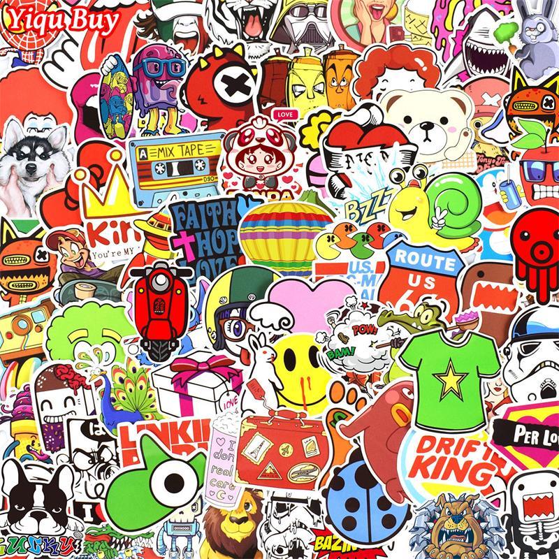 300 pcs Sticker Mixed Funny Cartoon Decal Skateboard Doodle Snowboard Luggage Home Decor Brand Car Bike Moto Toys Jdm Stickers