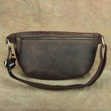 Unisex Crazy Horse Leather Waist Bag  Men Leather Chest Bags Vintage Fanny Packs Women Genuine Leather Messenger Shoulder bag