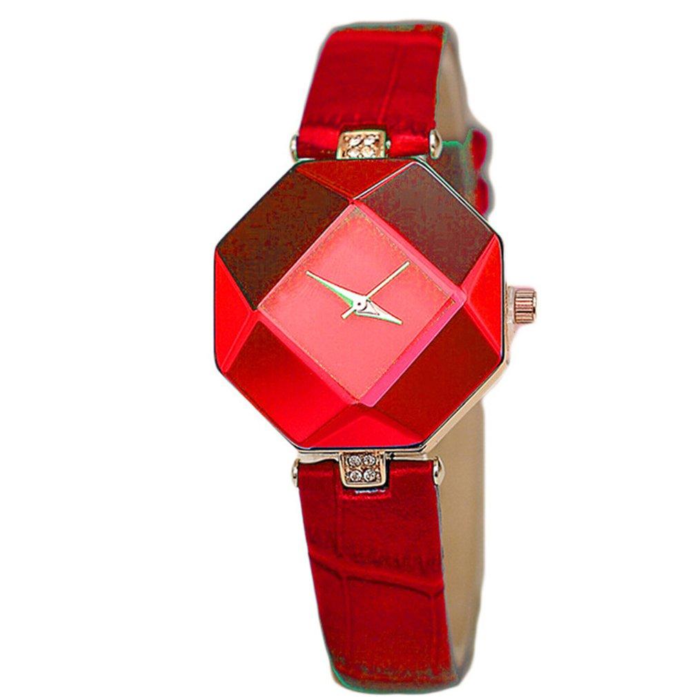 Female Leather Colorful Band Quartz Wristwatches Universal Prismatic Wrist Watch Portable Women Sports Clocks Elegant New 2018