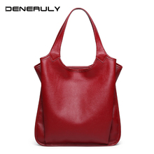 2019 New Genuine Leather Bags Women Soft Cow Real Handbags Female Fashion Simple Ladies First Layer Cowhide Tote