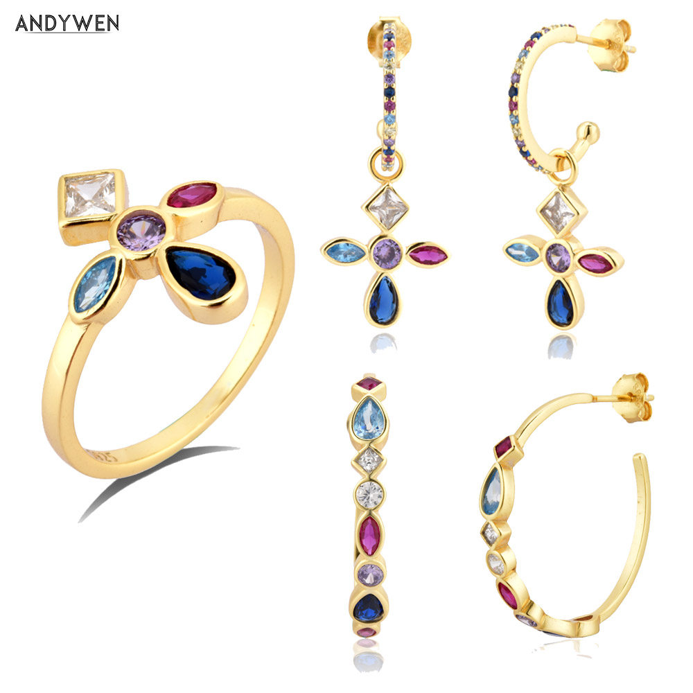 ANDYWEN 925 Sterling Silver Five Color Gold Rainbow Cross Drop Earring Hoops Piercing Ring Jewelry Set For Women Fashion Jewels