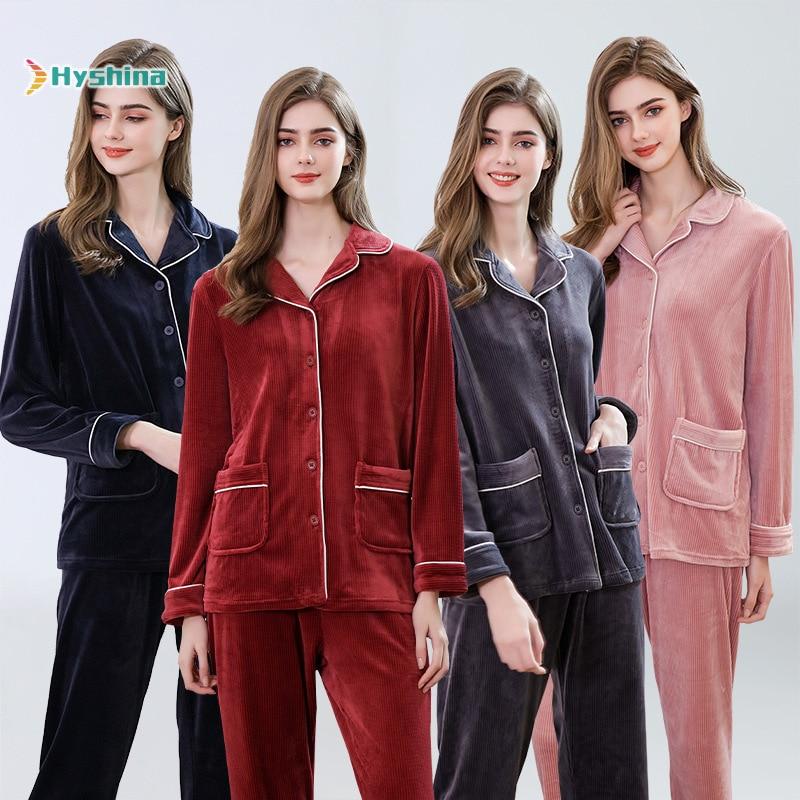 Large Size Pajamas Women Autumn Winter Island Plush Home Wear Lapel Spring Casual Fashion Two Piece Suit