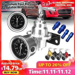 Image 1 - Universal Adjustable Aluminum Fuel Pressure Regulator With Gauge Kit Black Titanium Red Gold Silver Blue