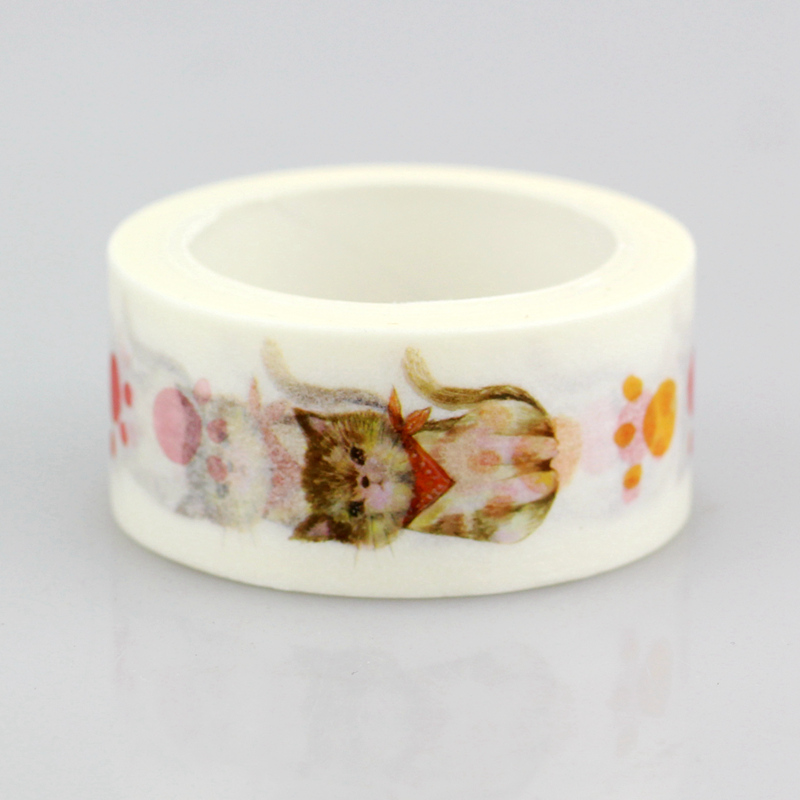 10pcs/lot Decorative Cute Cats Washi Tapes Paper DIY Scrapbooking Planner Adhesive Masking Tapes Kawaii Stationery