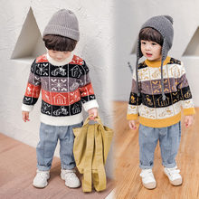 Little Boys Vintage Sweater Print Funny Christmas Jumper Wool Cashmere Kids Boy Knit New Year Costumes for 2-7Y