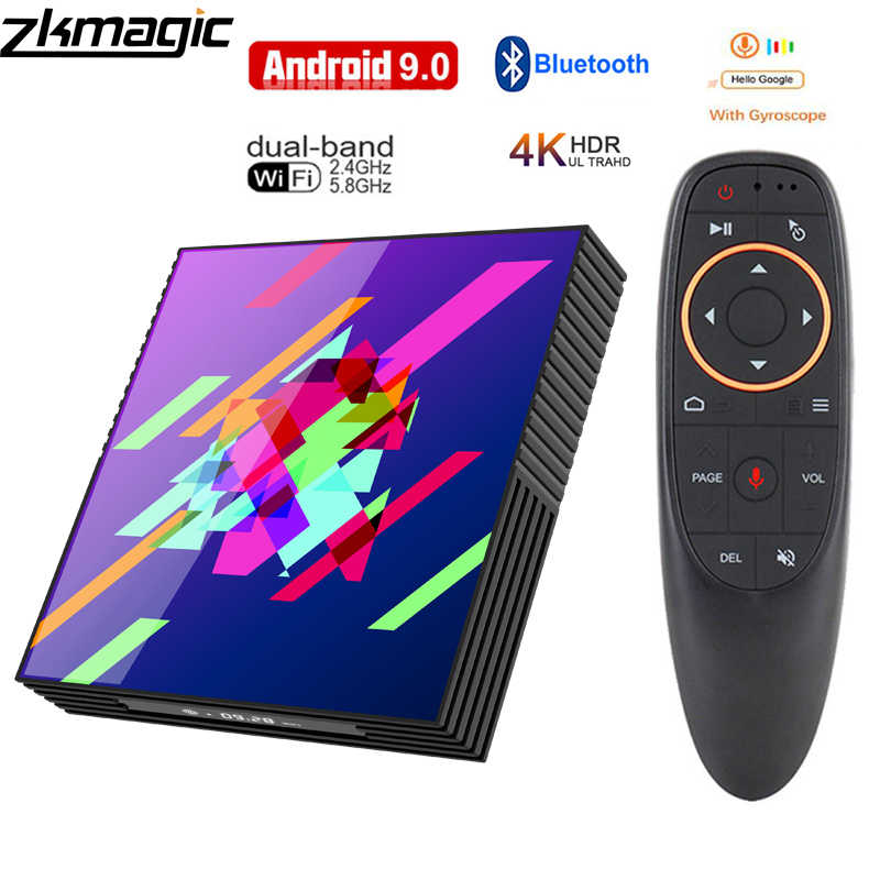 Google Tv box android 9,0 H96 MAX Rockchip 4G 16 GB 32 GB 64 GB Android tv box 2,4 /5,0G WiFi Bluetooth 4,0 4 K 3D iptv caja Android